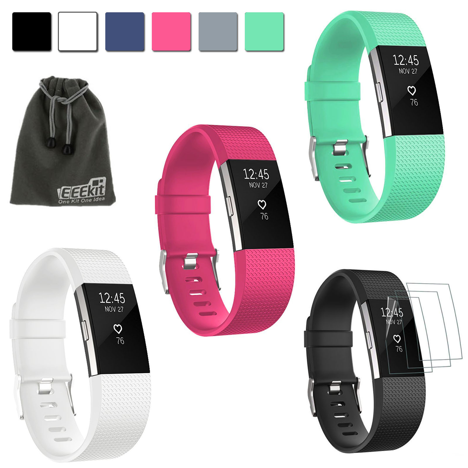 EEEKit 4in1Kit for Fitbit Charge 2, 3 Pcs Silicone Sport Replacement Straps Accessories Wrist Bands+3 Pcs Screen Protectors