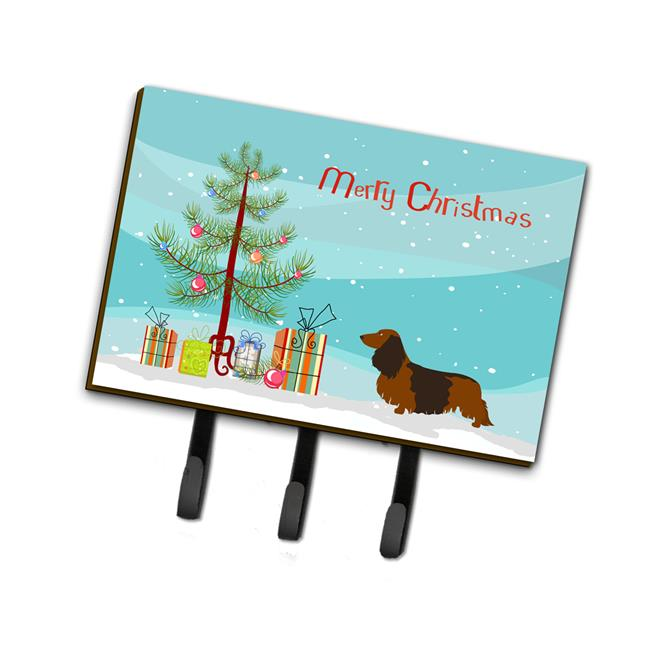 Carolines Treasures BB8449TH68 Longhaired Dachshund Christmas Leash Or Key Holder - image 1 de 1