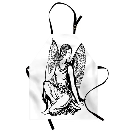 Zodiac Virgo Apron Young Woman Artistic Figure with Angel Wings Monochrome Tattoo Art Design, Unisex Kitchen Bib Apron with Adjustable Neck for Cooking Baking Gardening, Black and White, by Ambesonne