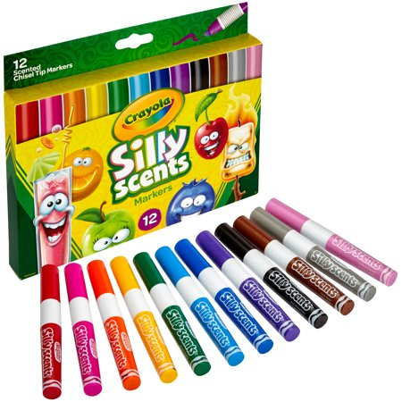 Crayola 12 Count Silly Scents Washable Chisel Tip Markers ()