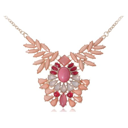 Bead Necklaces Patterns - Beautiful Golden Tone Peach Red Pink Beaded Tribal Bib Pattern Fashion Necklace