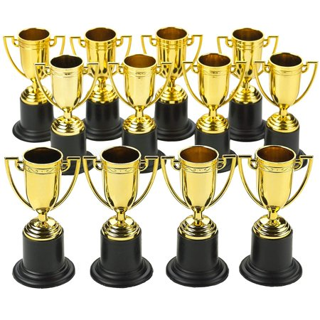 Plastic Trophies – 12 Pack 4 Inch Cup Golden Trophies For Children, Competitions, Awards, Parties, Party favors, Props, Rewards, Prizes, Games, School, Field Day, Boys And Girls - By Kidsco (Prizes To Give Away At Halloween Party)