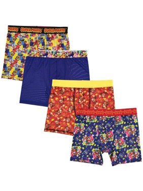 Mario Bros. Boys Underwear, 4 Pack Athletic Boxer Briefs (Little Boys & Big Boys)