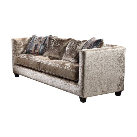 Acme Juliana Champagne Fabric Down Feather Sofa With 4 Pillows