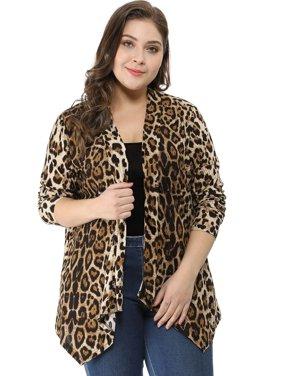 b2c30921a32 Product Image Unique Bargains Women s Plus Size Leopard Cardigan (Size 3X)  Beige