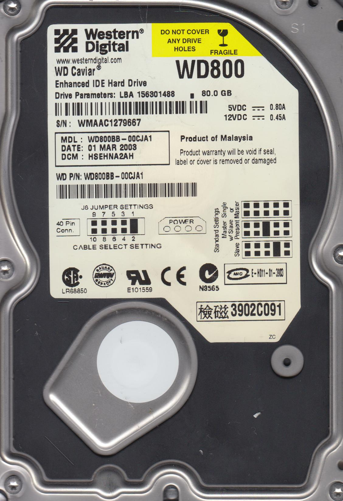 WD800BB-00CJA1, DCM HSEHNA2AH, Western Digital 80GB IDE 3.5 Hard Drive by WD