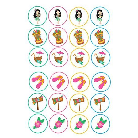 24 Luau hawiaan hawian mixed images Cake Toppers 4cm On wafer rice paper by Print4you - Luau Cake