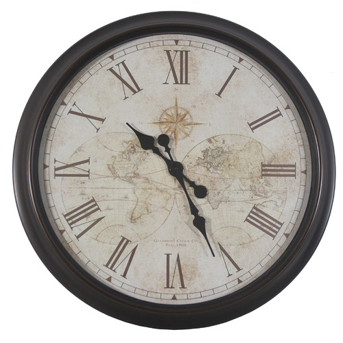 Decor Therapy Oversized 30'' Antique Map Wall Clock