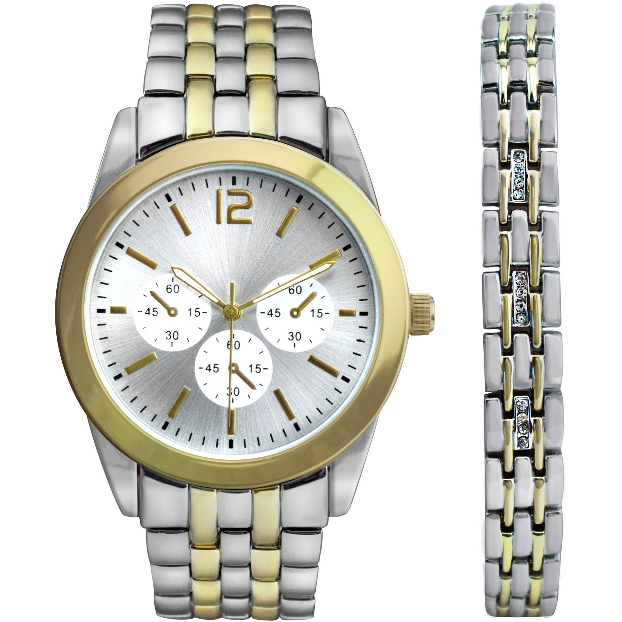Men's Two-Tone Watch Gift Set with Matching Bracelet