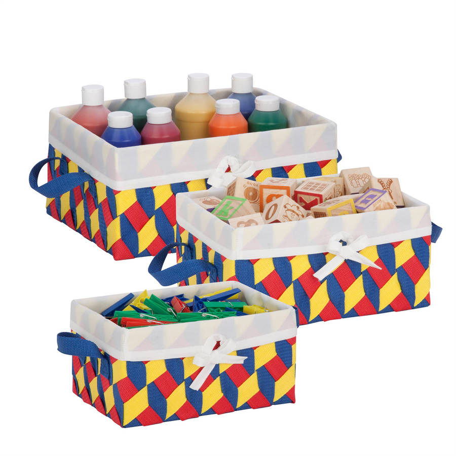 Honey-Can-Do Twisted Tote, Set of 3 (Red, Yellow, Blue)