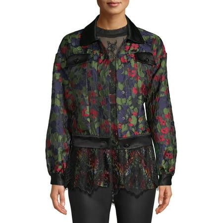 Sui by Anna Sui Women's Floral Satin Jacquard Jacket