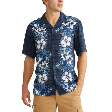 Big Men's Printed Rayon Short Sleeve Woven Shirt