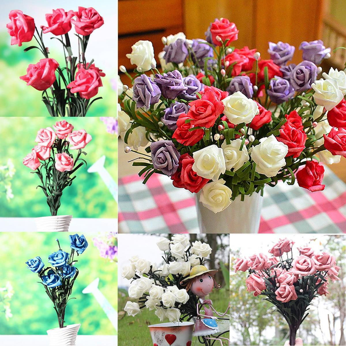 1 Bouquet 6 Heads Artificial Rose Silk Flower Leaf Home Wedding Decor Bridal
