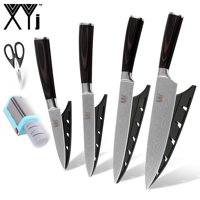 XYJ 4 PCS Kitchen Knives Excellent Quality Stainless Steel Kitchen Knife And Scissor Blue Electric Knife Sharpener