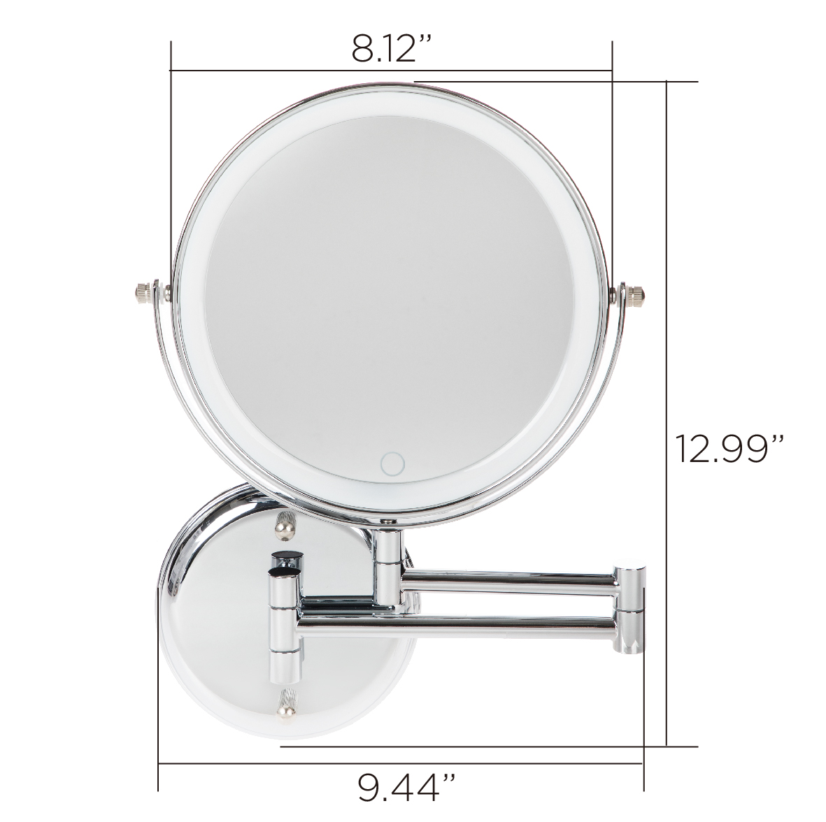 Better Homes Gardens Chandler Wall Mount 1x 10x Led Vanity Mirror Chrome Walmart Com Walmart Com