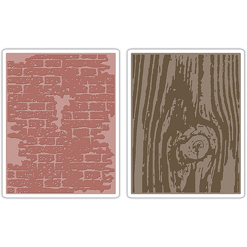 Tim Holtz Alterations Texture Fades Embossing Folders, Bricked & Woodgrain