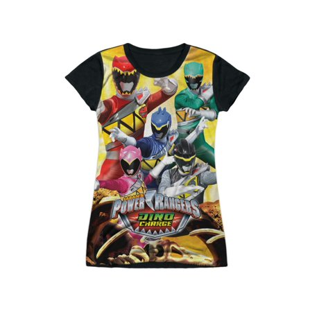 Power Rangers TV Series Fossilized Dino Charge Juniors Black Back T-Shirt