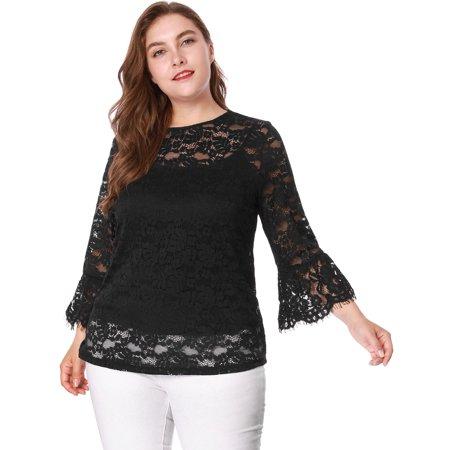 b1511dd9ec892b Unique Bargains - Women's Plus Size Crew NEck Classy Bell Sleeve Crochet Lace  Top With Cami Black (Size 1X) Black 1X - Walmart.com
