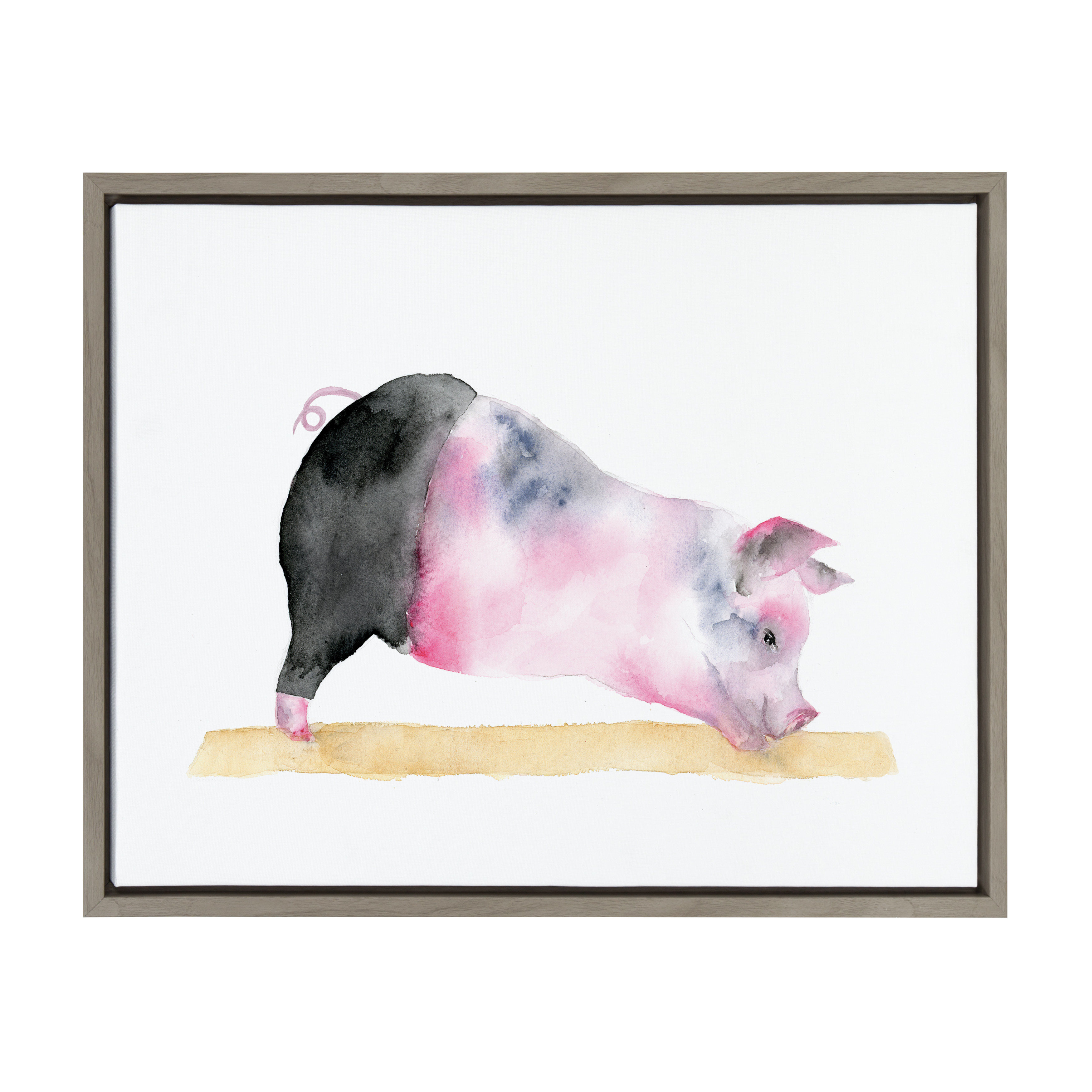 Kate and Laurel - Sylvie Pig Doing Yoga Downward Pig Framed Watercolor Print on Canvas by Cathy Zhang, Gray 18 x 24