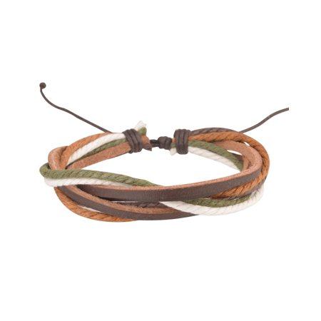 Genuine Leather Handmade Bracelet Braided Wristband Womens Mens Ladies Unisex One Size Adjustable Green/Brown (Gift Idea)
