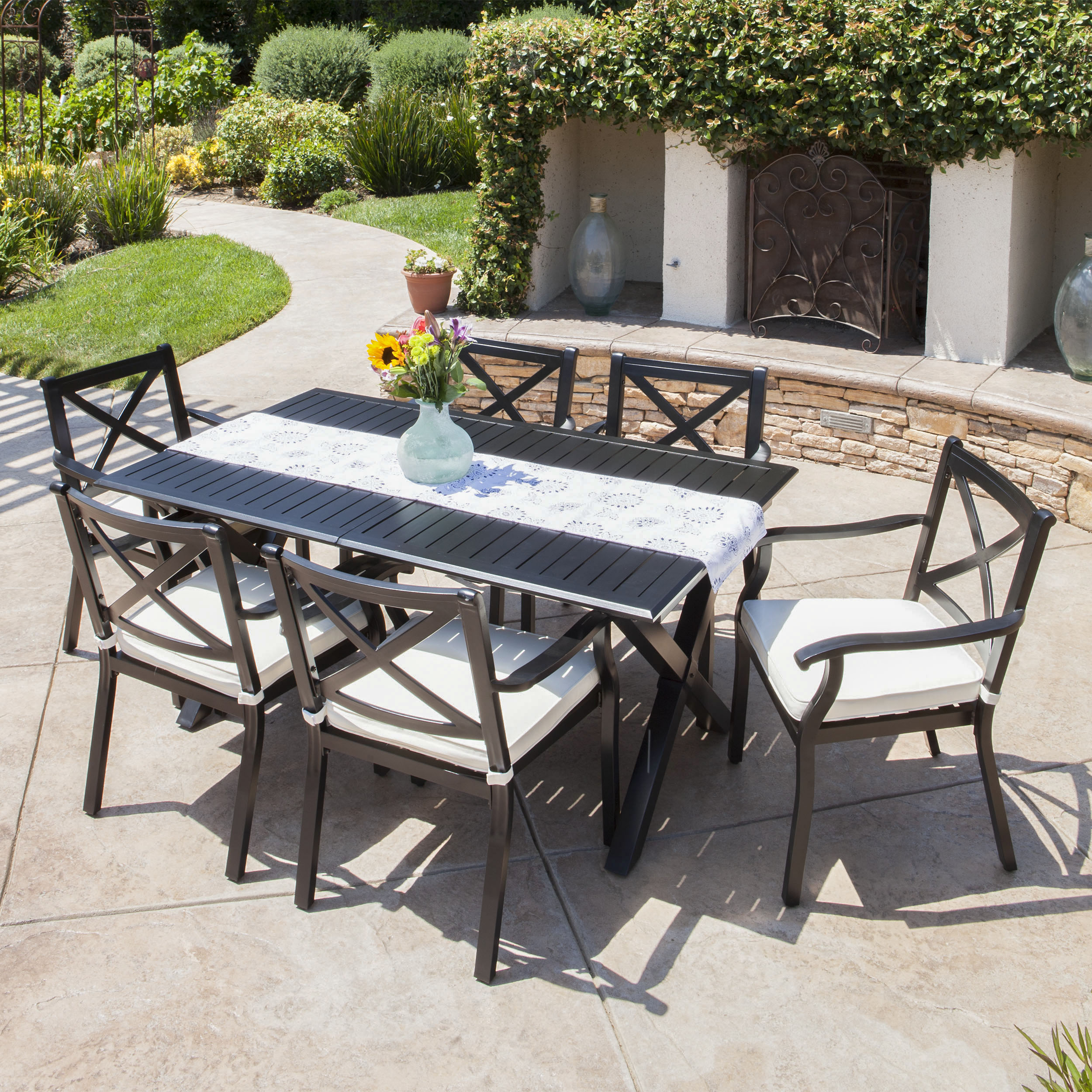 Outdoor Expandable 7 Piece Cast Aluminum Dining Set with Cushions,Ivory,Black