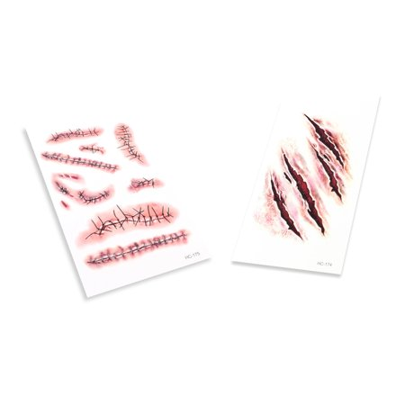 Deep Scar & Stitched Wound BLOODY MAKE-UP HALLOWEEN FANCY DRESS +Hook Y