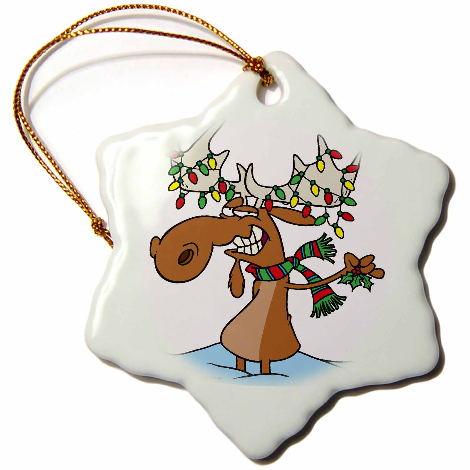 3dRose Funny Silly Christmas Moose Cartoon, Snowflake Ornament, Porcelain, 3-inch