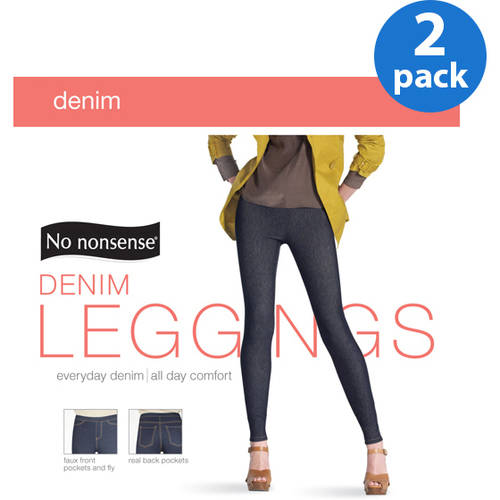 No nonsense Women's Basic Denim Leggings, 2 Pair
