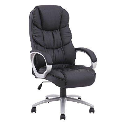 Long Back Chair - Ergonomic Executive High Back Office Gaming Chair, Metal Base