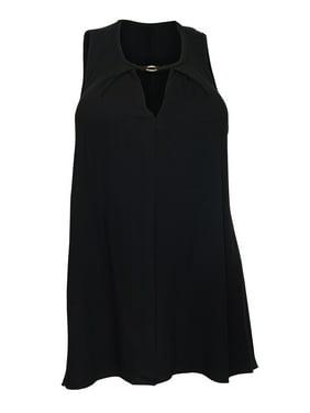d6c1e3d4feb Product Image eVogues Plus Size Keyhole Sleeveless Tunic Top Black