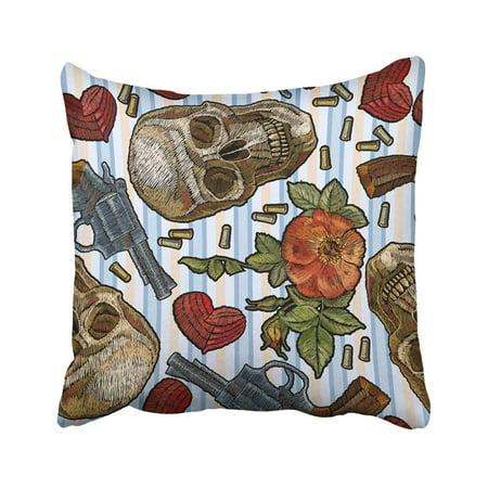 Gun Stripes (BPBOP Embroidery Skull Heart Guns And Roses Romantic In Blue Strip Dia De Muertos Gothic Wild Pillowcase Throw Pillow Cover Case 16x16)
