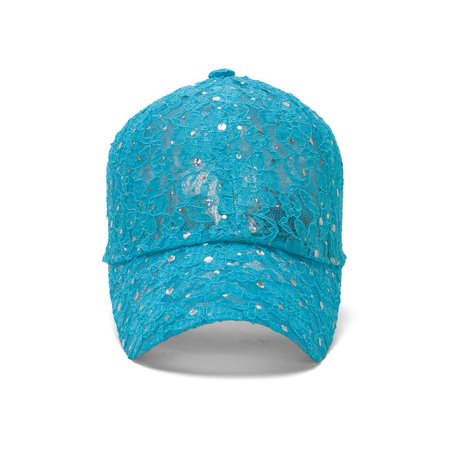 Sequin Baseball Cap - Sequin Lace Glitter Adjustable Baseball Cap