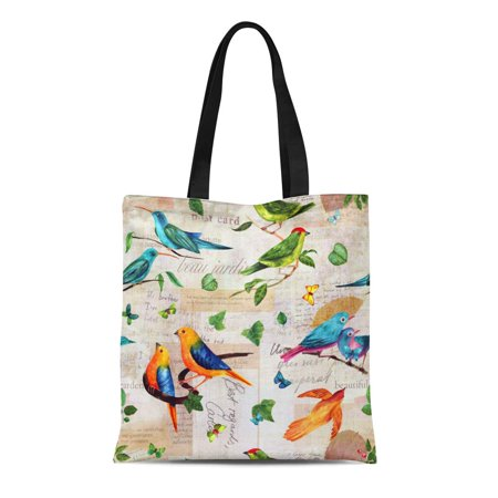 0232 Box (ASHLEIGH Canvas Tote Bag Vibrant Teal Blue and Golden Yellow Watercolor Birds Durable Reusable Shopping Shoulder Grocery Bag)