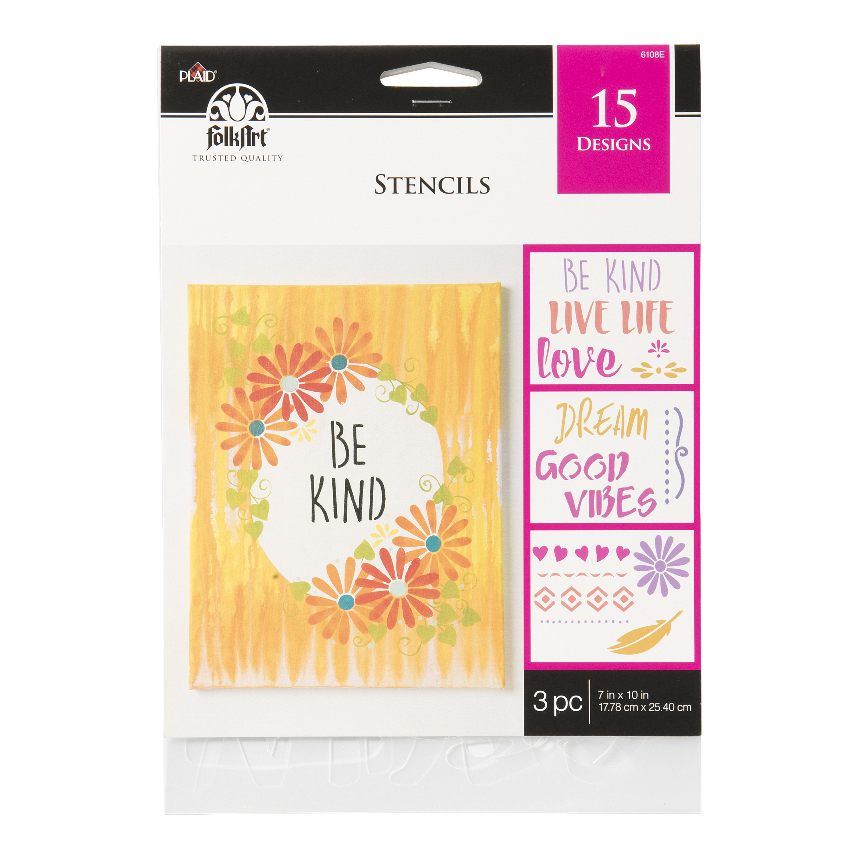 Folkart Stencil Value Pack Inpsirational, 3Pc, 7X10