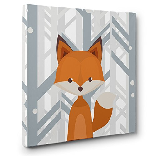 Woodland Creatures Fox Nursery Decor CANVAS Wall Art