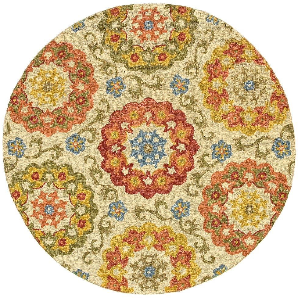 lnr home dazzle ivory floral round area rug 4u0027 round