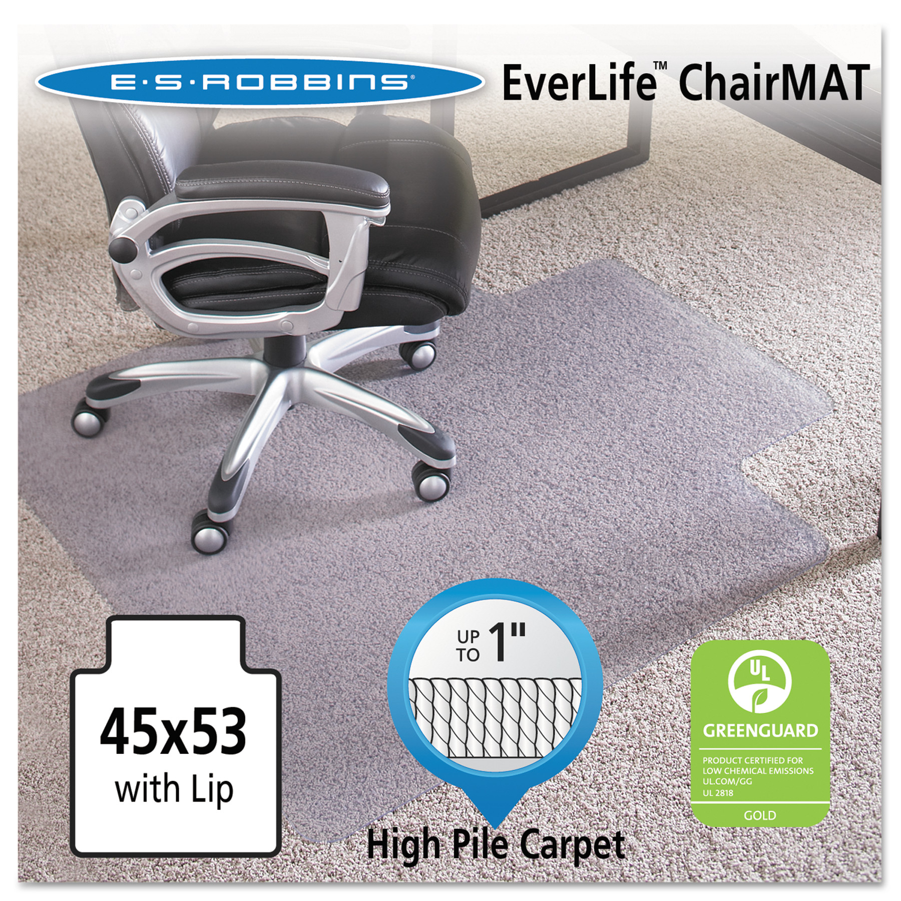 ES Robbins Performance Series 45 x 53 Chair Mat for High Pile Carpet, Rectangular with Lip