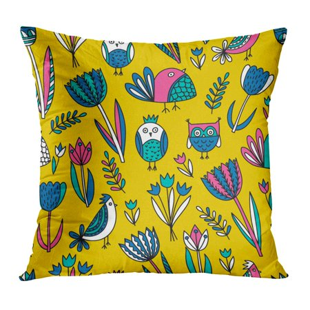 ECCOT Blue Cute Pattern Tulips and Birds Pink Black Clip Clipart Creative Doodle Pillow Case Pillow Cover 16x16 inch