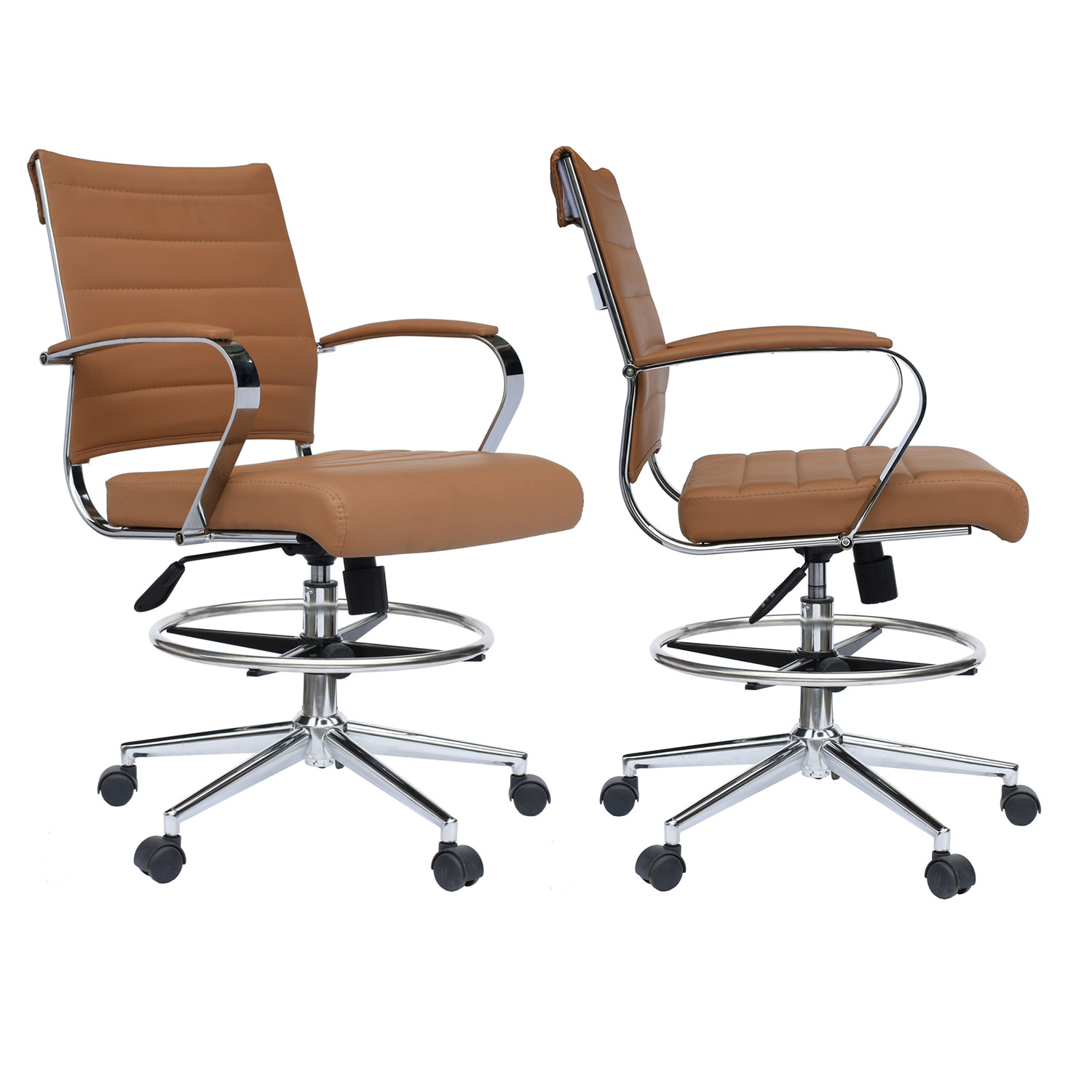 2xhome Set of 2 Black Office Chair Ribbed Padded Open Mid Back With Wheels And Chrome Arms For Home Office Conference Room Tilt Ribbed Adjustable Height Chrome Swivel and Drafting Chair Work