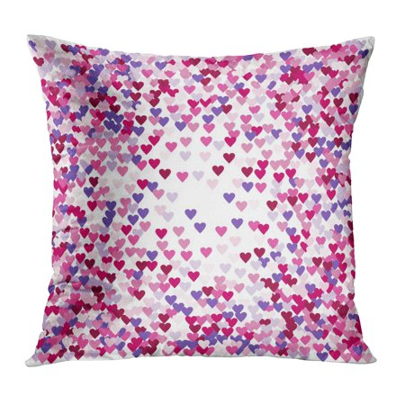 ECCOT Hearts Confetti Simple Round Made of Pink and Purple Flying Like Petals on Black Love Wedding Celebration Pillowcase Pillow Cover Cushion Case 16x16 inch ()