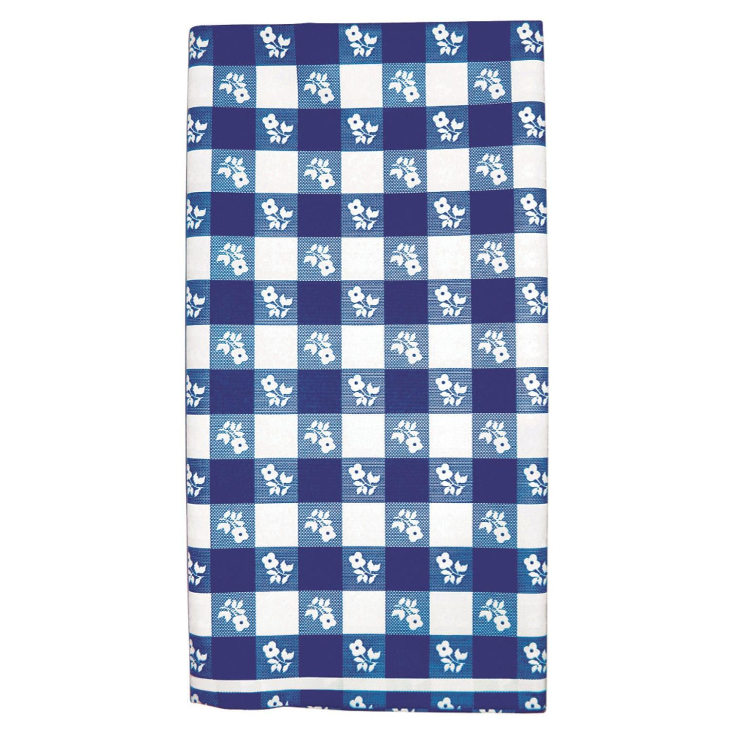 Club Pack of 12 Blue and White Gingham Disposable Rectang...