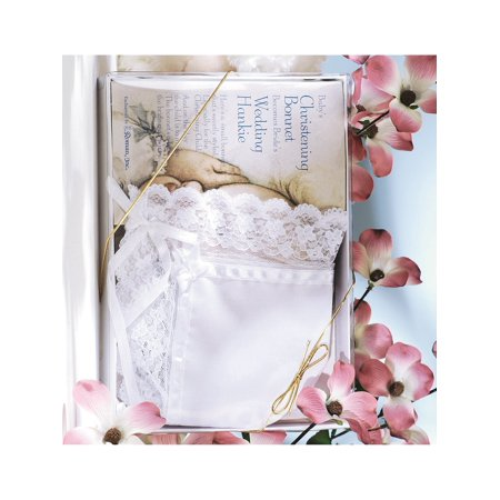White Deluxe Christening Bonnet And Wedding Hankie Designer Jewelry by Sweet Pea Hankie Bonnet Poem