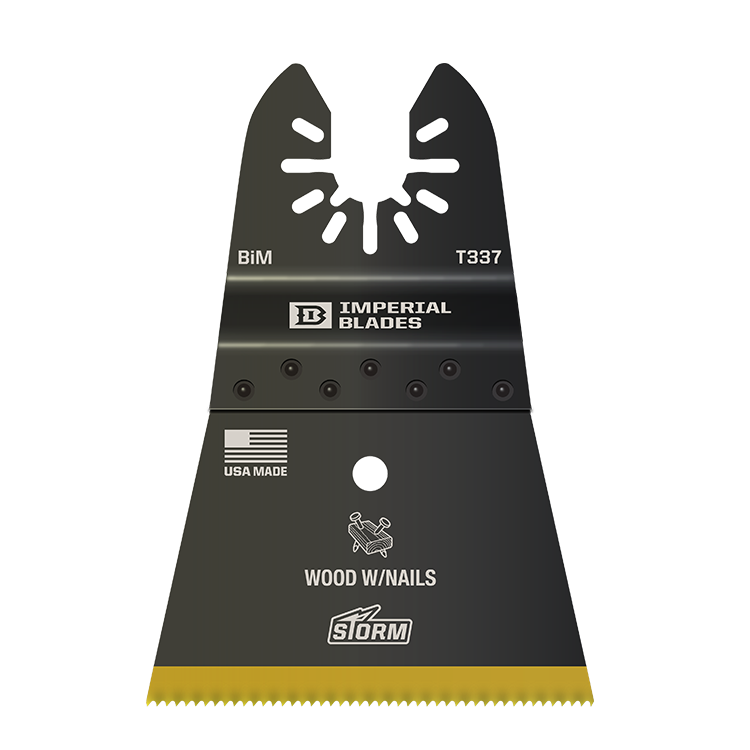 "Imperial Blades IBOAT337-1 ONE FIT 2-1/2"" Titanium Enhanced Wood/Metal Oscillating Saw Blade, Multi-Tool Accessory, 1PK"