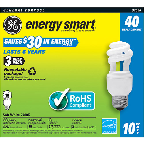 GE CFL 10wt Soft-White Spiral - 12 bulbs