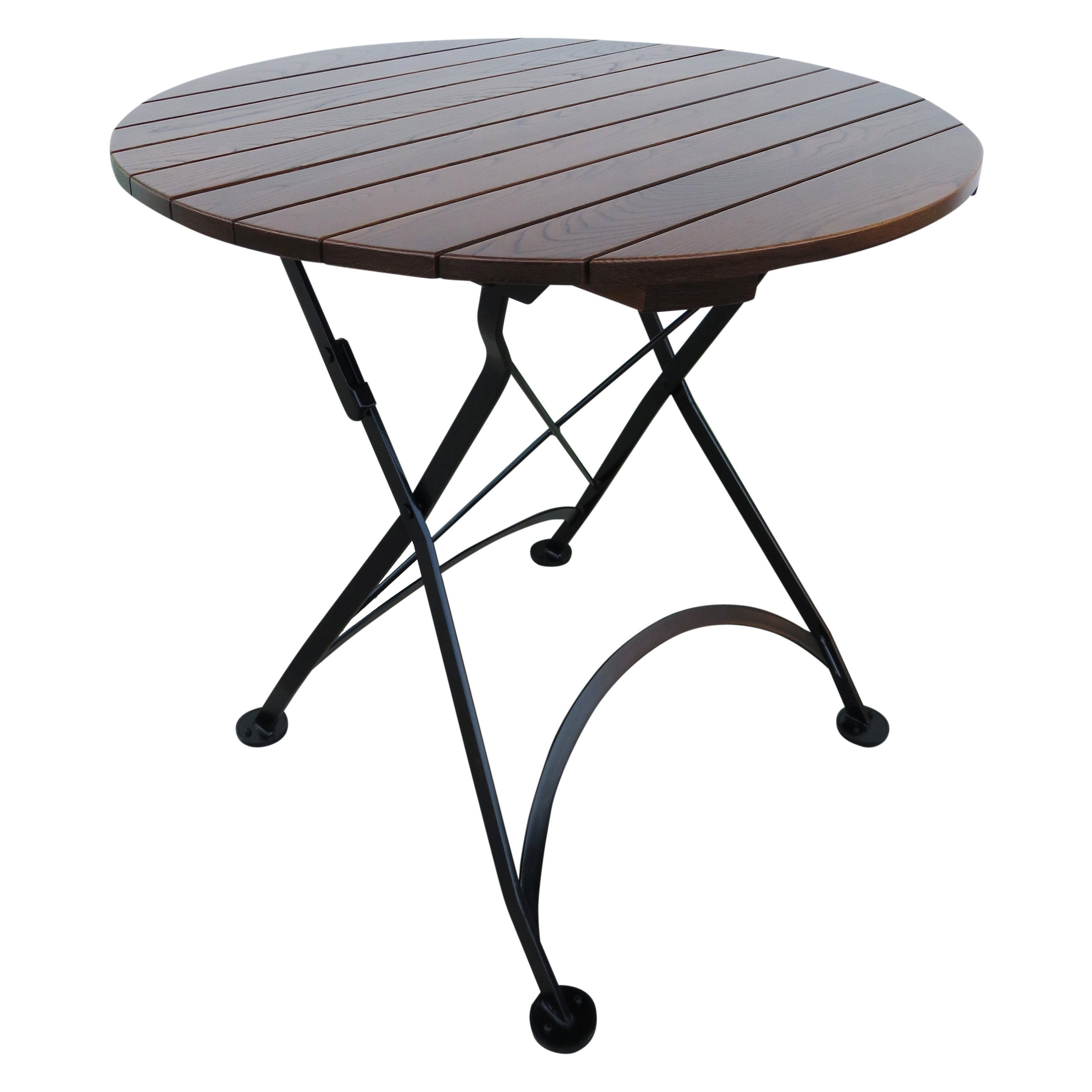 Furniture Designhouse French Cafe Bistro Round Metal Folding Patio Dining  Table With Chestnut Wood Top