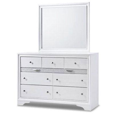 Gymax Modern Bedroom 5 Piece Furniture Set Bed Dresser Mirror Chest Night  Stands