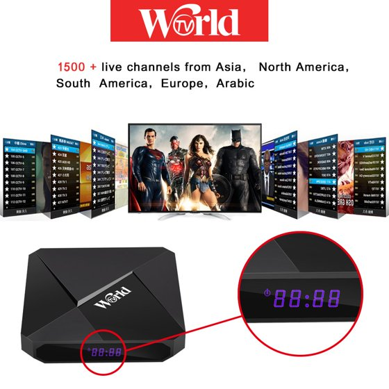 International IPTV Receiver Box with Life-time Subscription for 1500+  Global Live Channels 2GB 16GB IPTV Include North American European Asian  Arabic
