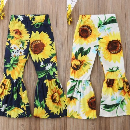 Fashion Toddler Kid Girls Baby Clothes Sunflower Floral Boot-cut Casual Pants
