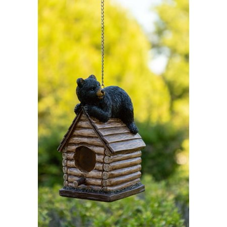 - Alpine Resting Bear on Log Cabin Birdhouse, 8 Inch Tall