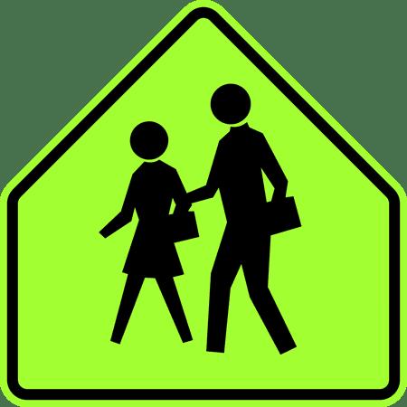 Pedestrian Crosswalk Sign - Traffic Signs - School (also used for pedestrian crosswalk near schools) since 2012 12 x 18 Peel-n-Stick Sign Street Weather Approved Sign